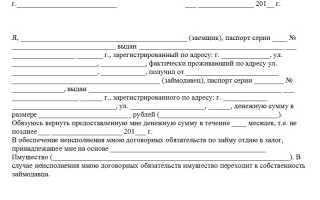 Залоговая расписка