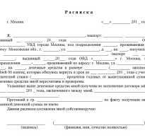Расписка о получении займа