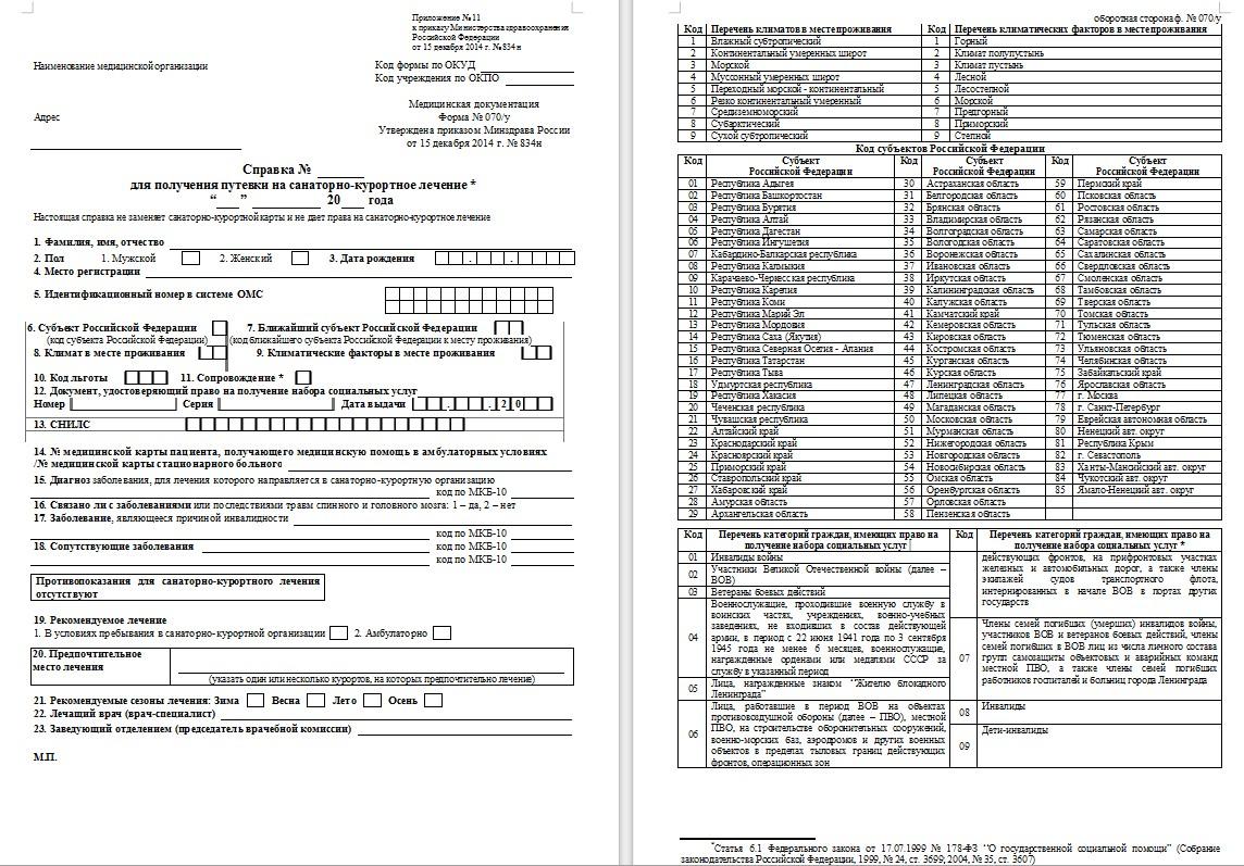 Справка для получения путевки на санаторно-курортное лечение (форма 070/у)